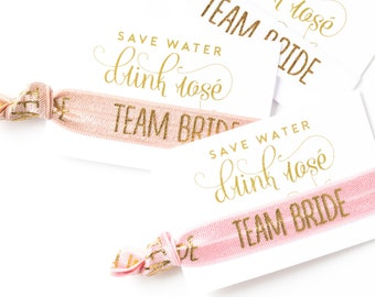 ROSÉ Bachelorette Hair Tie Favors | Bridesmaid Brunch + Bachelorette Party Favors, Team Bride Hair Tie Favors, Bridesmaid Proposal Gift Idea