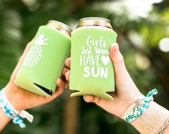 Pineapple Drink Cooler Bachelorette Party Favors | Beach Bachelorette Party Drink Cooler Favors, Pineapple Flamingo Bachelorette Favor
