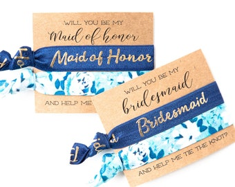 Bridesmaid Proposal Hair Tie Gift | Blue Floral Hair Tie Bridesmaid Gift, Navy Blue Floral Hair Ties, Bridesmaid Proposal Card + Gift