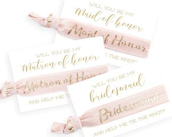 Bridal Party Proposal Hair Tie Cards | Pale Blush Pink + Gold Bridal Party Hair Ties, Wedding Party + Bridesmaid Gift, Bridesmaid Proposal