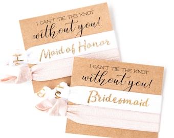 YOU DESIGN Hair Tie Bridesmaid Gift | Blush Pink, White + Gold Hair Tie Favors, Bridesmaid Proposal Gift, Wedding Party Bridesmaid Hair Ties