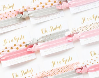 Custom Baby Shower Hair Tie Favors | It's a Girl Hair Tie Favors, Baby Shower Favor, Light Pink White Gray Gold, Custom Colors, Baby Girl