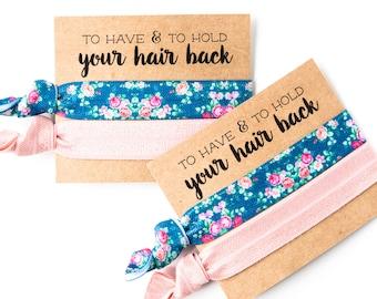 Hair Tie Bridesmaid Gift | Blush Pink Blue Floral Hair Tie Gifts, Bridesmaid Gift Hair Tie Favor, Bridal Shower Favor, Rose Blue Floral