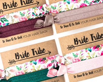 Feathered Floral Hair Tie Favors | Bachelorette Party Favor Hair Ties, Blush, Mauve + Emerald Hair Ties, To Have and To Hold Your Hair Back
