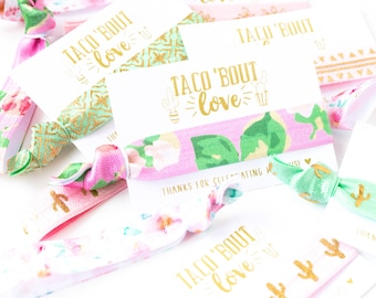 Taco 'Bout Love Baby Shower Favors   Cactus Floral Hair Tie Favors, Baby Shower Hair Tie Favors, Pink Floral Cacti Girl Baby Shower Favors