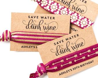 WINE TOUR Party Favors | Hair Tie Favors, Birthday + Bachelorette Party Hair Tie Favors, Wine Tour Favors, 30th Birthday Adult Party Favors