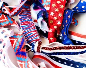 Patriotic Elastic Hair Ties, Fourth of July Hair Accessories, Assorted Hair Ties, Flag Prints, Cute Hair Ties, Creaseless Elastic Hair Ties