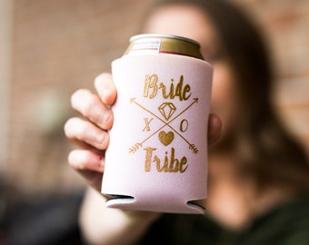 Bride Tribe Drink Cooler | Boho Bachelorette Party Favors, Metallic Gold Tribal Arrows, Bride Tribe Bachelorette Favors, Can Bottle Holder