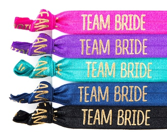 Bachelorette Hair Ties | TEAM BRIDE Bachelorette Party Favors, Gold Team Bride Hair Ties, Bachelorette Survival Kit Favors, Bridesmaid Gift