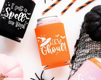 Ready To Ship | Halloween Party Drink Cozies | Halloween Bachelorette Favors, Ghouls Night, Cheers Witches, Halloween Drink Cozy Party Favor
