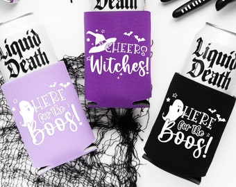 Ready To Ship | Halloween Party Drink Cozies | Cheers Witches Halloween Party Favors, Halloween Bachelorette, Ghouls Night Drink Cozy Favors