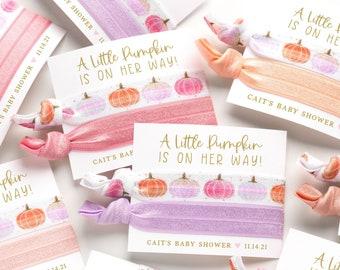 Little Pumpkin Baby Shower Favors | Pastel Watercolor Pumpkin Girl Baby Shower, Fall Baby Shower, Pink Pastel Lavender Peach Hair Tie Favor