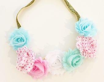 Wild One Birthday Flower Crown | Pink, Mint + Gold Flower Crown Headband for Baby Toddler Girls, Bohemian Birthday Flower Crown for Photos