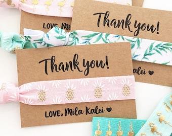 Luau Baby Shower + Birthday Hair Tie Favors | Flamingo Baby Shower Hair Tie Favor, Tropical Pineapple Baby Shower + Birthday Hair Tie Favors