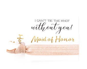 Bridal Party Proposal Gifts | Blush Pink, White + Gold Hair Tie Favors, Maid of Honor + Bridesmaid Proposal Gift, Wedding Party Hair Ties