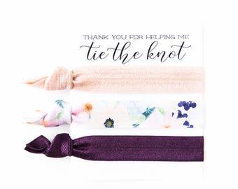 Hair Tie Bridesmaid Gift | Plum Floral Hair Tie Set, Purple Floral Print Hair Ties, Mauve Eggplant Violet Plum, Bridesmaid Gift Hair Ties