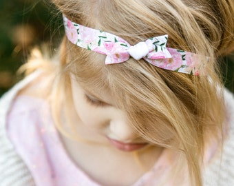 Floral Knot Bow Headband Set   Watercolor Floral Elastic Headbands for Baby Toddler Girls, Bohemian Floral Newborn Headbands, Vintage Floral