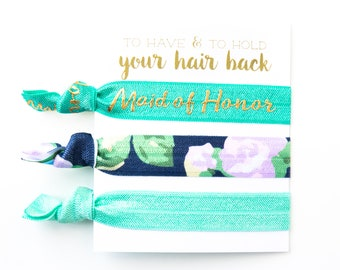 YOU DESIGN Bridesmaid Proposal Hair Tie Gifts | Jade, Turquoise + Gold Floral Bridal Party Proposal Gift, Maid of Honor Bridesmaid Hair Tie