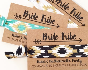 CUSTOM Bride Tribe Hair Tie Favors | Boho Bachelorette Party Favor Hair Ties, Bohemian Bachelorette Favors, Black + Gold Tribal Hair Ties