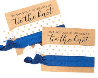Hair Tie Bridesmaid Gift | Navy Blue, White + Gold Hair Tie Gifts, Wedding Shower Favor, Bridesmaid Proposal, Navy Blue Wedding Party Gift