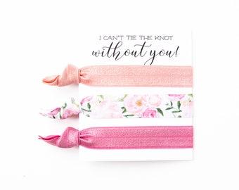 Hair Tie Bridesmaid Gift | Pink Floral Hair Tie Set, Vintage Floral Print Hair Ties, Rose Pink Floral Hair Ties, Bridesmaid Gift Hair Ties