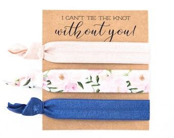 Hair Tie Bridesmaid Gift   Navy Blue + Blush Pink Floral Hair Tie Set, Bridesmaid Proposal Gift, Maid of Honor Proposal Gift, Hair Tie Cards