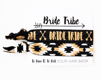 YOU DESIGN Bride Tribe Bachelorette Hair Tie Favors | Bride Tribe Hair Tie Favors, Aztec Tribal Print Boho Bachelorette Party Hair Tie Favor