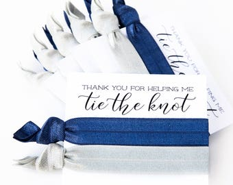 CHOOSE YOUR COLORS Hair Tie Bridesmaid Gifts | Navy + Silver Gray Hair Tie Favors, Wedding Party Gift, Modern Simple Navy Silver Grey Gray