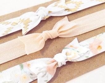 Peach Floral Knot Bow Headband Set   Peach, White + Gold Aztec Elastic Headbands for Baby Toddler Girls, Boho Bohemian Newborn Headbands