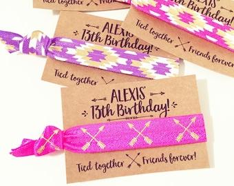 Boho Birthday Party Hair Tie Favors | Personalized Birthday Hair Tie Favors, Bohemian Arrow Hair Tie Favors, Teen Tween Girl Birthday Favor
