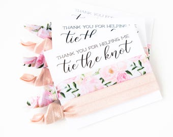 Hair Tie Bridal Shower Favor | Rose Floral Hair Tie Favor, Blush Pink Peonies, Wedding Shower Favor, Light Pink Hair Tie Bridesmaid Gift