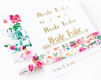 YOU CHOOSE Floral Hair Tie Favors | Bridesmaid Gift, Bridal Shower + Bachelorette Favor Hair Ties, Watercolor Florals, Vintage Floral Favors