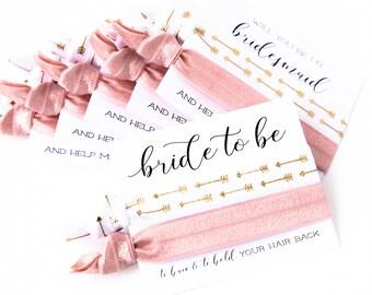 Hair Tie Bridesmaid Gift | Blush Pink, White + Gold Arrow Hair Tie Favors, Boho Wedding Bridal Shower Favor, Blush Hair Tie Bridesmaid Gift
