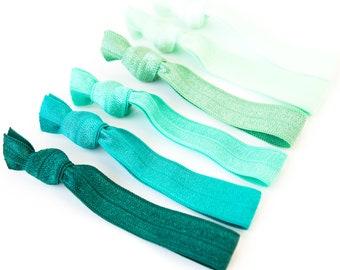 Green Ombre Hair Tie Set | Creaseless Elastic Hair Ties, Green Ombre Hair Tie Set, Blue, Aqua, Jade, Teal, Mint Bridesmaid Gift