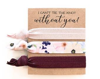 Hair Tie Bridesmaid Gift | Burgundy Floral Hair Tie Set, Floral Print Hair Ties, Mauve Blush Violet Floral, Bridesmaid Gift Hair Ties