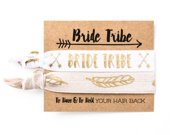 Bride Tribe Boho Bachelorette Favors | Gold Feather Hair Tie Favors, Team Bride Hair Ties, Boho Bachelorette Party Favors, Bridesmaid Gift
