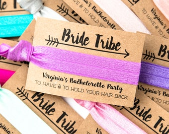 PERSONALIZED Hair Tie Favors | Choose Your Colors, Boho Bachelorette Party Hair Tie Favors, Custom Hair Tie Favors, Gold Bride Tribe Favors
