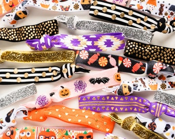 Pack of 30 Halloween Hair Ties | Classroom Daycare Safe Cute Halloween Party Favors | Allergy Friendly Treat Handouts, Kids Halloween Party