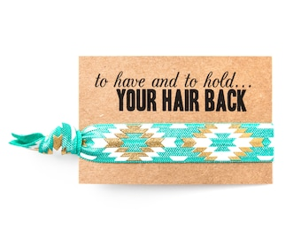 Turquoise + Gold Bachelorette Favor Hair Ties | Turquoise Hair Tie Favors, Jade Turquoise + Gold Boho Aztec Tribal Bachelorette Party Favors