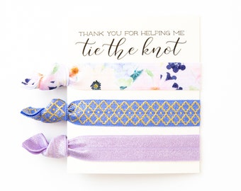 Hair Tie Bridesmaid Gift | Violet Floral Hair Tie Set, Floral Print Hair Ties, Purple, Blue, Lavender Floral, Bridesmaid Gift Hair Ties