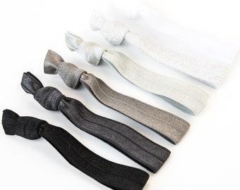 Gray Ombre Hair Tie Set | Creaseless Elastic Hair Ties, Metallic Ombre Hair Tie Set, Silver, Grey, Silver, Charcoal, Black Bridesmaid Gift