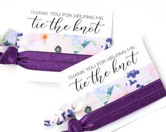 Plum Floral Hair Tie Bridesmaid Gift   Plum Purple Floral Hair Tie Bridesmaid Gifts, Bridal Shower Favor, Plum Dark Purple Champagne