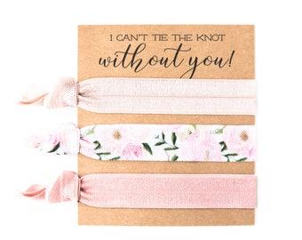 Hair Tie Bridesmaid Gift   Blush Pink Floral Hair Tie Favors, Vintage Rose Peonies Floral Hair Ties, Bridesmaid Gift, Bachelorette Hair Ties