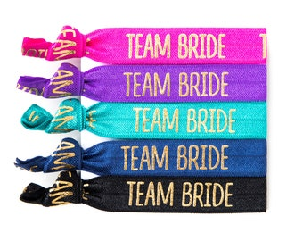 Team Bride Hair Ties | Bachelorette Party Favors, Team Bride Elastic Hair Ties, Wedding Party + Bridesmaid Gifts, Bachelorette Survival Kit