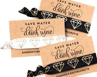 Wine Tour Bachelorette Hair Tie Favor | Black + Gold Hair Tie Favor, Black + Gold Bachelorette Favor, 21st Birthday Wine Tasting Wine Tour