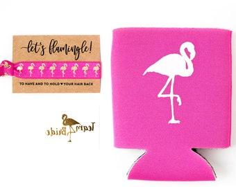 Pink Flamingo Bachelorette Favor Gift Set | Metallic Gold Tattoo, Hair Tie + Drink Cooler | Hot Pink Flamingo Bachelorette Party Favor Sets
