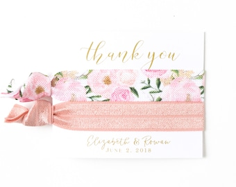 THANK YOU Hair Tie Favor | Blush Pink Floral Hair Tie Favor, Bridal Shower Favor, Wedding Shower Favor, Blush Pink Hair Tie Bridesmaid Favor