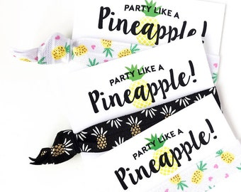 YOU DESIGN Tropical Hair Tie Party Favors | Pineapple Birthday Party Favors, Beach Bachelorette, Pineapple + Flamingo Hair Tie Party Favors