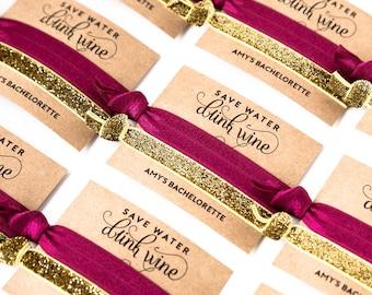 YOU DESIGN Hair Tie Favors | Bachelorette Party Favors, Wedding + Bridal Shower Favors, Personalized Hair Tie Favors, Gold Glitter Sparkle