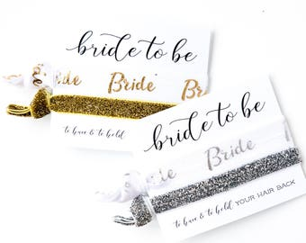 Bride Hair Tie Favor | White + Gold Glitter Bride Hair Tie Gift, White Gold Foil Glitter Bridal Wedding Shower Bachelorette Party Hair Ties
